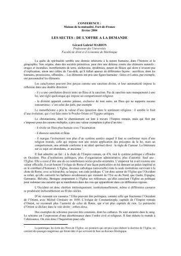 LES SECTES : DE L'OFFRE A LA DEMANDE - Université des ...