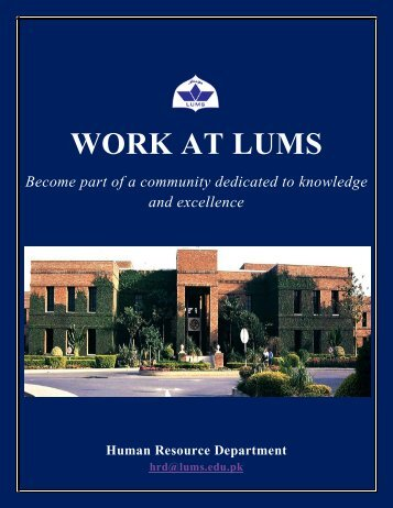 WORK AT LUMS - Lahore University of Management Sciences