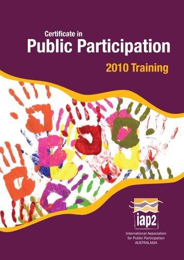 The IAP2 Certificate in Public Participation - International ...