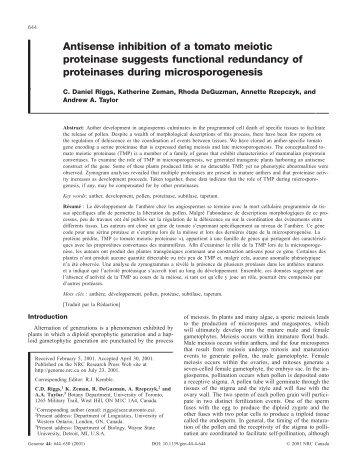 Antisense inhibition of a tomato meiotic proteinase ... - IngentaConnect