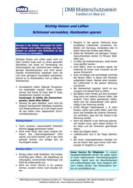 Tipps Zum Richtigen Luften Und Heizen Dmb Mieterschutzverein