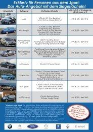 Exklusiv für Personen aus dem Sport: Das Auto-Angebot mit dem ...