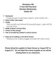 3 Year Old Preschool Supply List