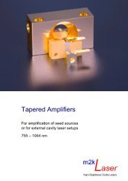 Product flyer tapered amplifiers - M2k-laser.com
