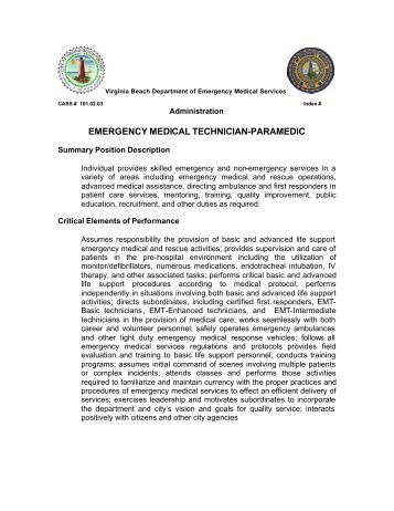 Job Description EmtParamedic  The City Of Burnet Texas