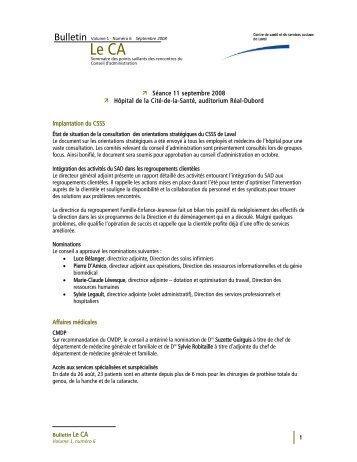 Volume 1 Numéro 6 - Centre de santé et de services sociaux de Laval