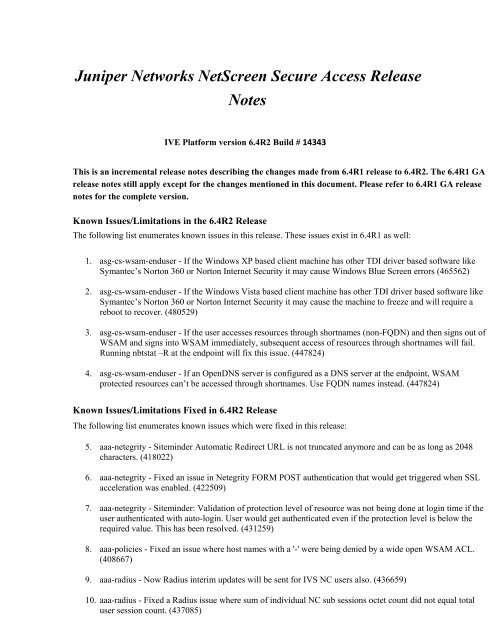 Juniper Networks Secure Access Release Notes
