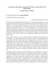 An open letter to his Excellency Ambassador of PLO Envoy to South ...