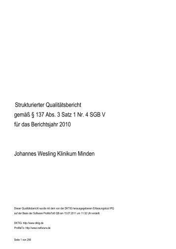 Qualitätsbericht Johannes Wesling Klinikum 2010