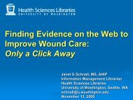 Finding Evidence on the Web to Improve Wound Care - University of ...