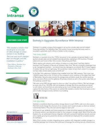 Security Storage Outside The Box Intransa