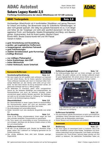 Umfassender Test Subaru Legacy Kombi 2.5 - ADAC