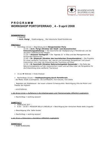 P R O G R A M M WORKSHOP PORTOFERRAIO _ 4 – 9 april 2008