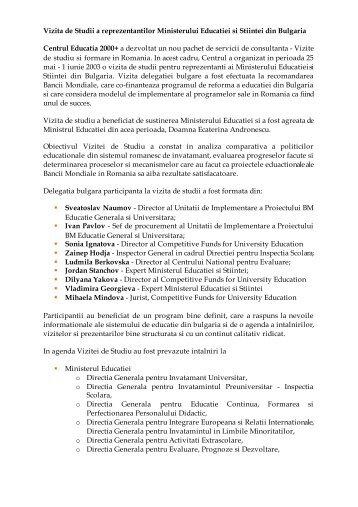 Vizita de studii pentru reprezentanti ai Ministerului Educatiei si ...