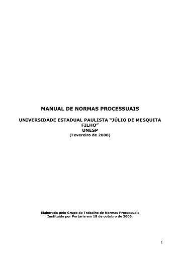 Manual de Normas Processuais da Unesp