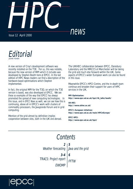 hpc news spring 2000 - EPCC - University of Edinburgh