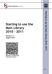 Starting to use the Main Library 2010 - 2011 - Docs.is.ed.ac.uk ...