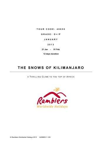 THE SNOWS OF KILIMANJARO - Walking Holidays