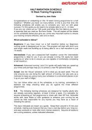 HALF MARATHON SCHEDULE 10 Week Training ... - ActionAid