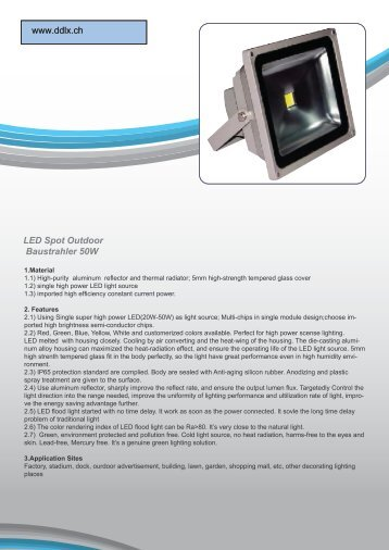 LED Spot Outdoor Baustrahler 50W www.ddlx.ch