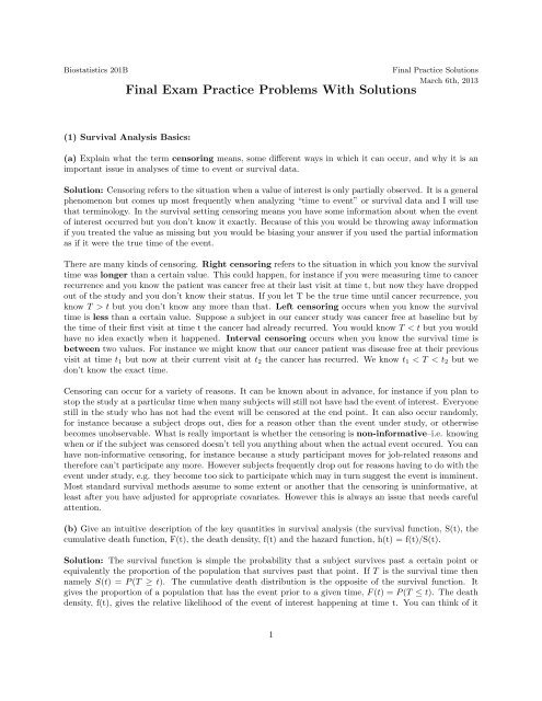 Solutions To The Practice Problems UCLA Biostatistics