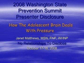 How the Adolescent Brain Deals with Pressure (PowerPoint) - CASAT
