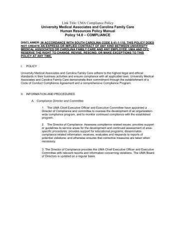 UMA Compliance Policy University Medical - Medical Center Intranet