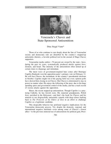 Venezuela's Chavez - Journal for the Study of Antisemitism