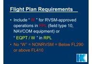 RVSM - Flight Plan Requirements