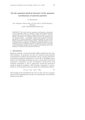On the quantum-classical character of the quantum wavefunction of ...