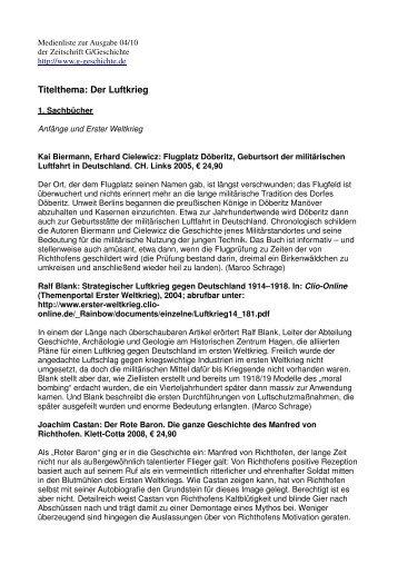 Titelthema: Der Luftkrieg - G/Geschichte