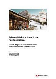 Advent-/Weihnachtsmärkte Festtagsreisen
