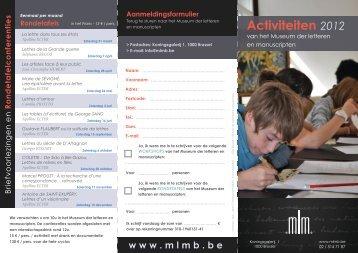 Rondetafelconferenties Activiteiten - Het museum van de letteren en ...