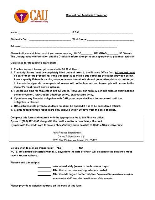 Transcript Request Form   Download Transcript Request Form Carlos Albizu University