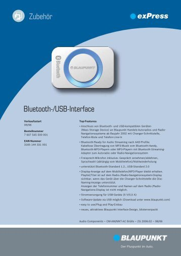 Bluetooth-/USB-Interface Zubehör