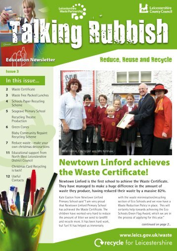 Newtown Linford achieves the Waste Certificate! - Recycle for ...