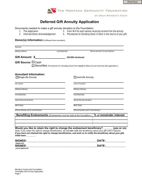 Deferred Gift Annuity Application - The Montana Community .