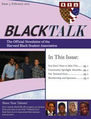 In This Issue: - Harvard Black Students Association