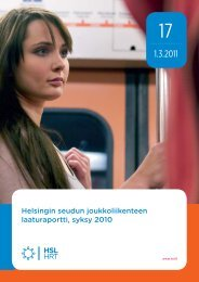 Helsingin seudun joukkoliikenteen laaturaportti, syksy 2010 - HSL