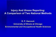Injury and illness reporting: A comparison of two national ... - BOHS