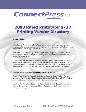 2008 Rapid Prototyping/3D Printing Vendor Directory - MicroStation ...