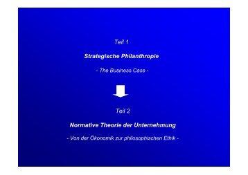 Teil 1 Strategische Philanthropie Teil 2 Normative Theorie der ...