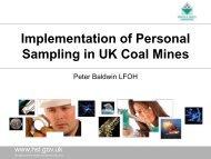Implementation of Personal Sampling in UK Coal Mines - BOHS