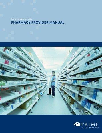 pharmacy provider manual - Prime Therapeutics