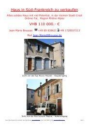 Haus in Süd-Frankreich zu verkaufen VHB 110 000.- €
