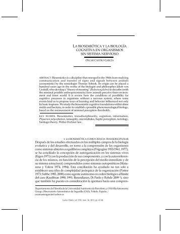 la biosemiótica y la biología cognitiva en organismos ... - Ludus Vitalis