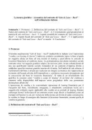 La natura giuridico – economica del contratto di ... - Rivista S.S.E.F.