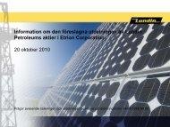 Presentation över utdelningen av Etrion aktier - Lundin Petroleum