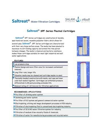 Saltreat® SPF Series Pleated Cartridges - SALAM Enterprises