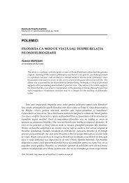 POLEMICI - Societatea Română de Filosofie Analitică